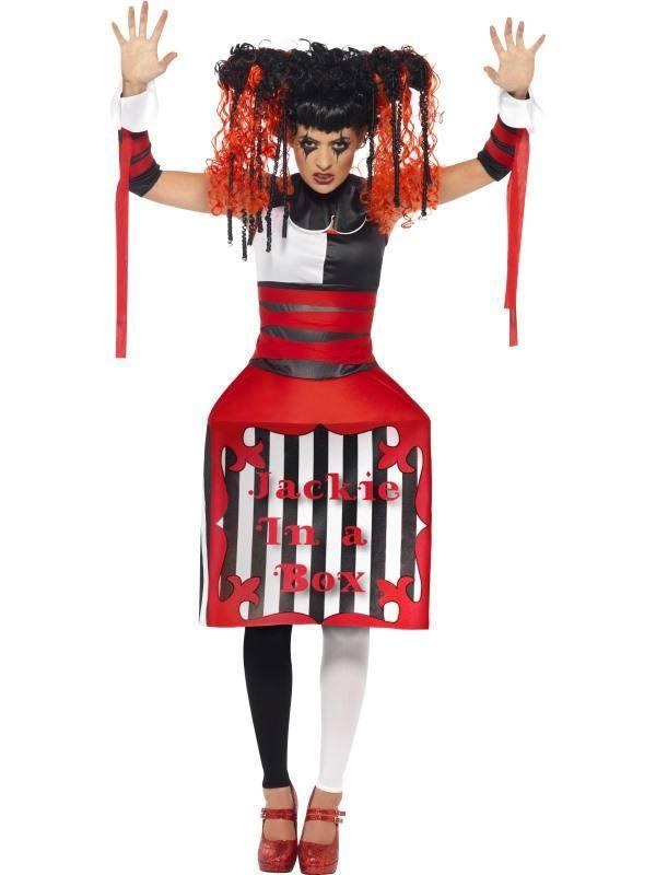 Piros-Fehér-Fekete Gonosz Baba Jelmez Nőknek Doboz Alakú Szoknyával, Gallérral és Karpánttal - M