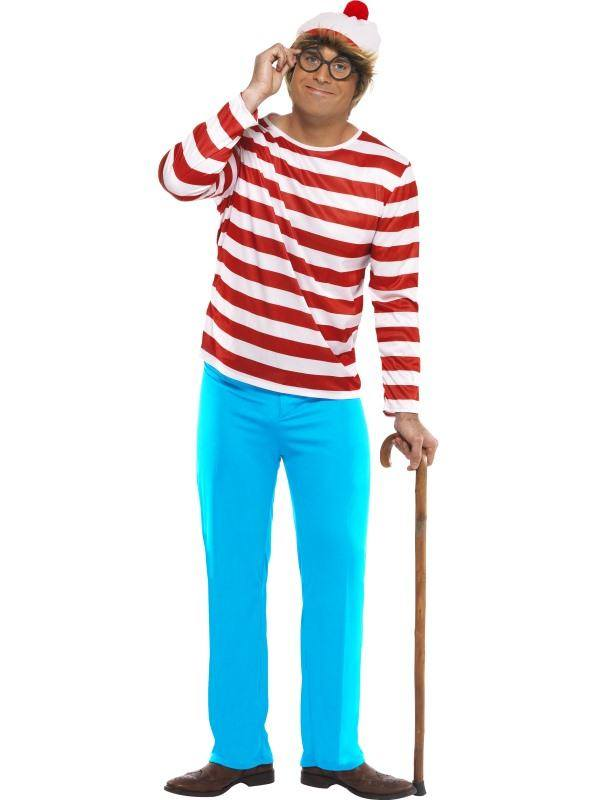 Piros-Fehér-Kék Hol Van Wally? Jelmez Férfiaknak Felsővel, Nadrággal, Szemüveggel és Sapkával - L