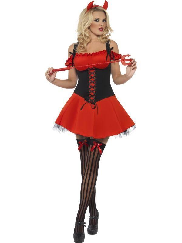 Szexi Piros-Fekete Gonosz Ördög Jelmez Nőknek Ruhával és Szarvval - S