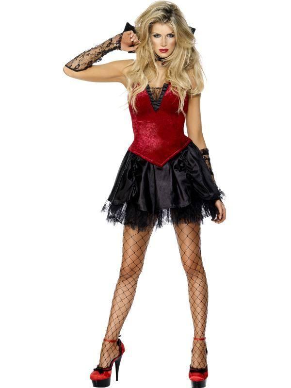 Szexi Piros-Fekete Gonosz Vámpír Jelmez Nőknek Szoknyával, Fűzővel, Gallérral és Kesztyűvel - M
