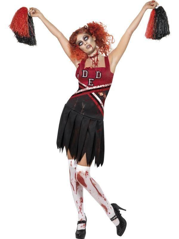 Piros-Fekete Középiskolás Cheerleader Horror Jelmez Nőknek Ruhával és Pom-Pommal - L
