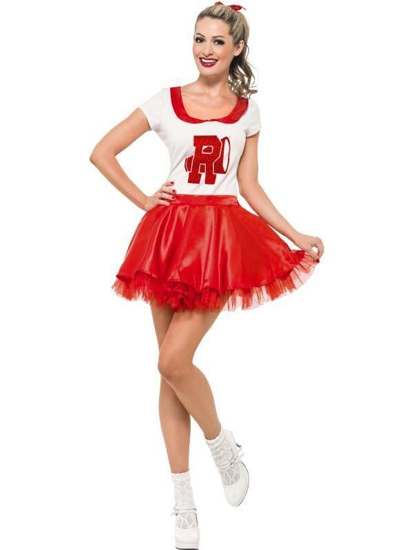 Szexi Piros Grease Sandy Cheerleader Jelmez Nőknek Szoknyával és Felsővel - S