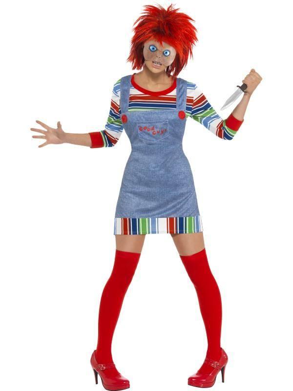 Piros-Kék Chucky Játékbaba Jelmez Nőknek Pulóverrel, Ruhával, Maszkkal és Parókával - L
