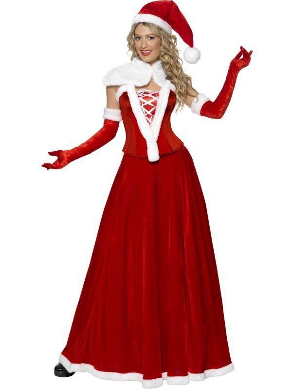 Piros Mikulás Jelmez Nőknek Sapkával, Köpennyel, Fűzővel, Szoknyával és Kesztyűvel - S