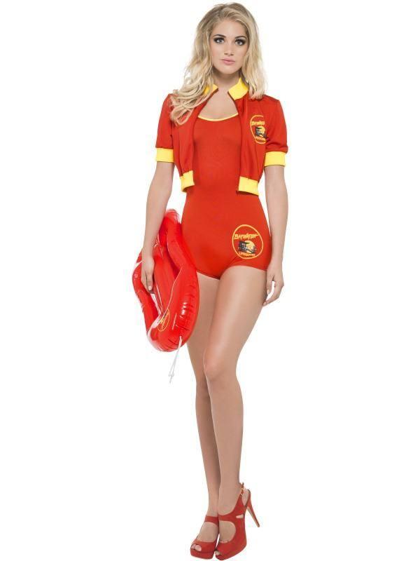 Szexi Piros-Sárga Baywatch Lifeguard Jelmez Nőknek Dresszel, Kabáttal és Mentő Bójával - S