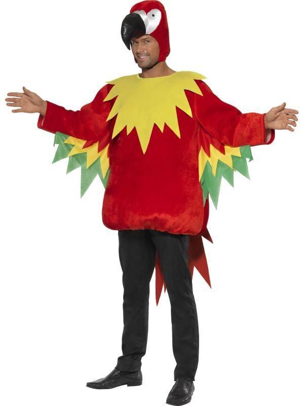 Piros-Sárga-Zöld Papagáj Jelmez Férfiaknak - M