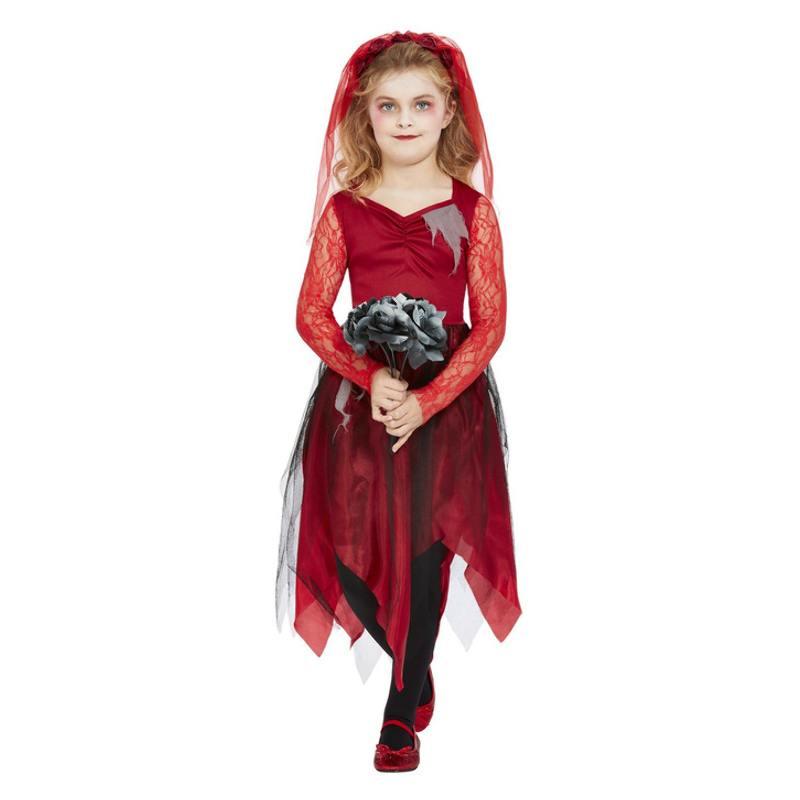 Piros Temető Menyasszony Jelmez Kislányoknak Halloweenre - L
