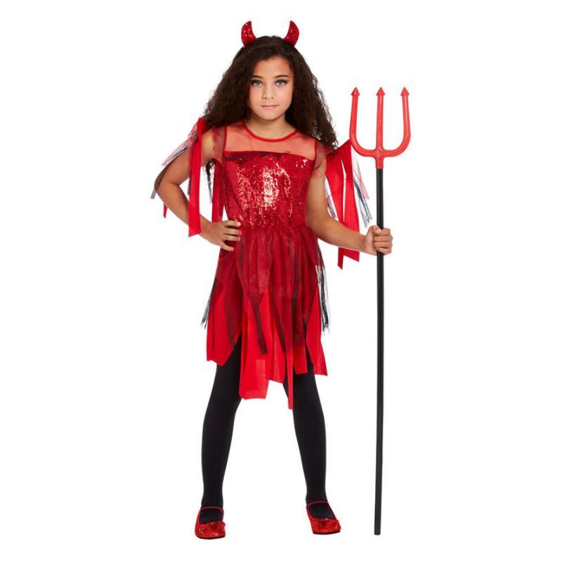 Piros Punk Ördög Jelmez Kislányoknak Halloweenre - L