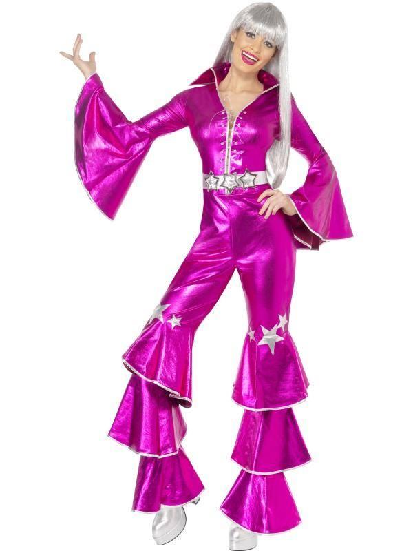 Szexi Rózsaszín 1970-es Évekbeli Disco Táncos Jelmez Nőknek Overállal - S