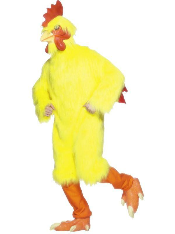 Sárga Csirke Jelmez Férfiaknak Kezeslábassal, Maszkkal és Lábbal