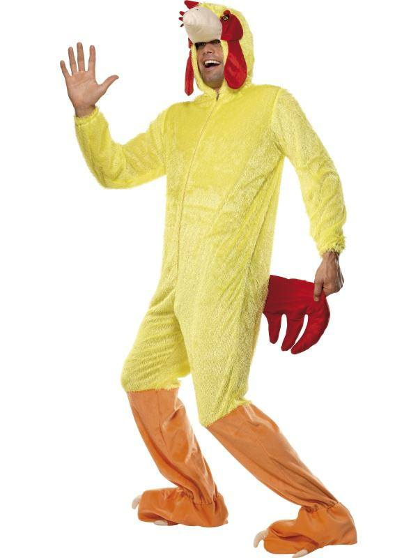 Sárga Csirke Jelmez Férfiaknak Kapucnis Kezeslábassal - M