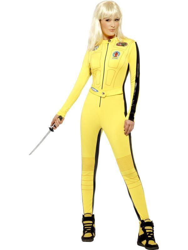 Sárga Kill Bill Jelmez Nőknek Overállal és Karddal - S