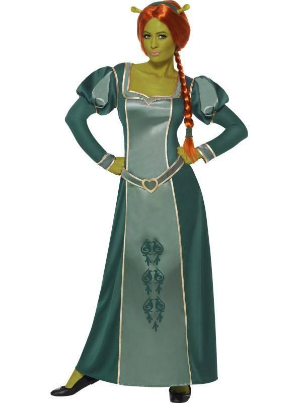 Shrek Fiona Jelmez Nőknek Ruhával, Parókával és Fejpánttal - L
