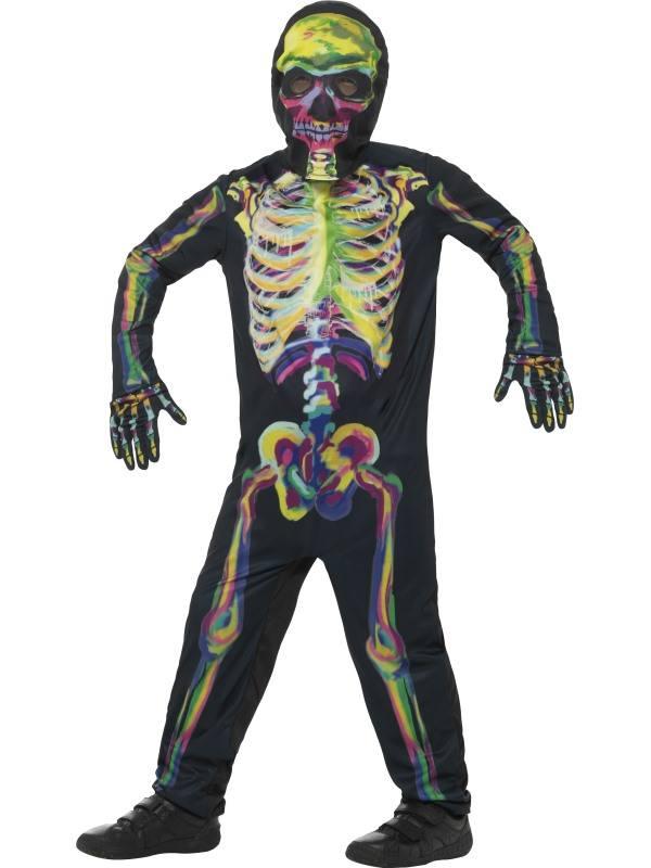 Sötétben Világító Csontváz Kisfiú Jelmez - L