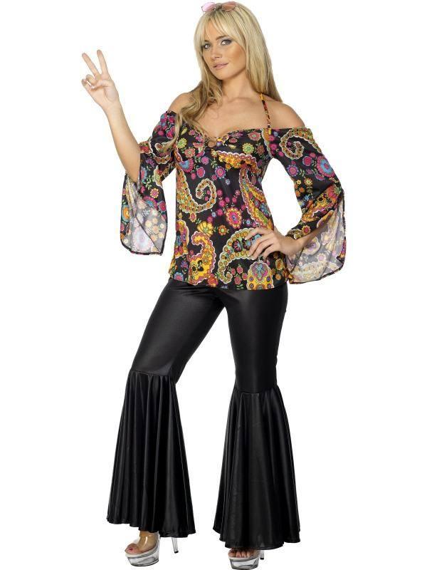 Szexi Színes Hippi Jelmez Nőknek Felsővel és Trapéznadrággal - S