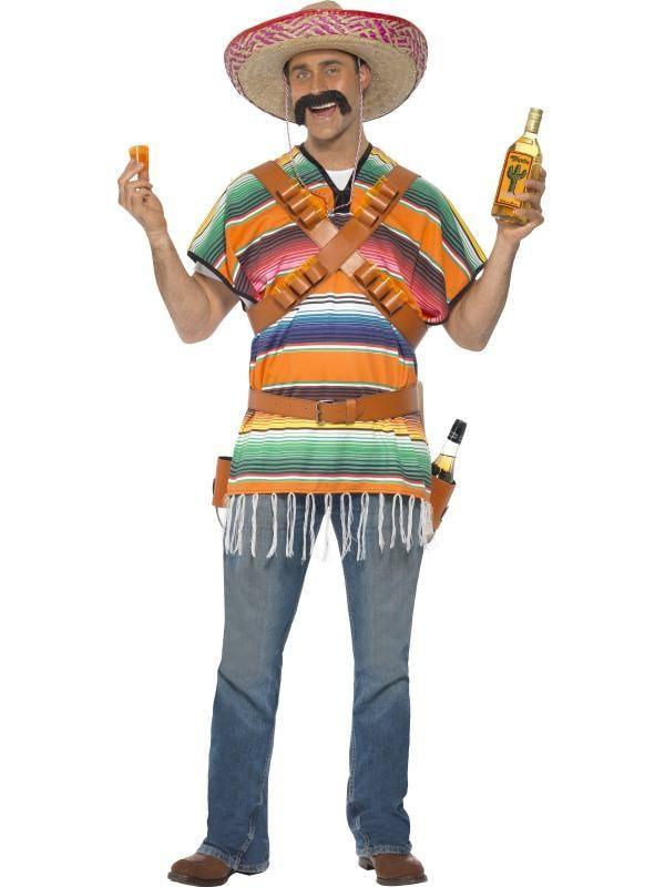 Színes Tequila Jelmez Férfiaknak Poncsóval, Övvel, Vállszalaggal és Italtartóval