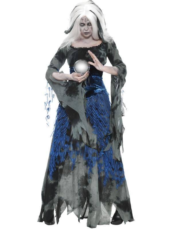 Szürke-Kék Jósnő Jelmez Nőknek Ruhával - S