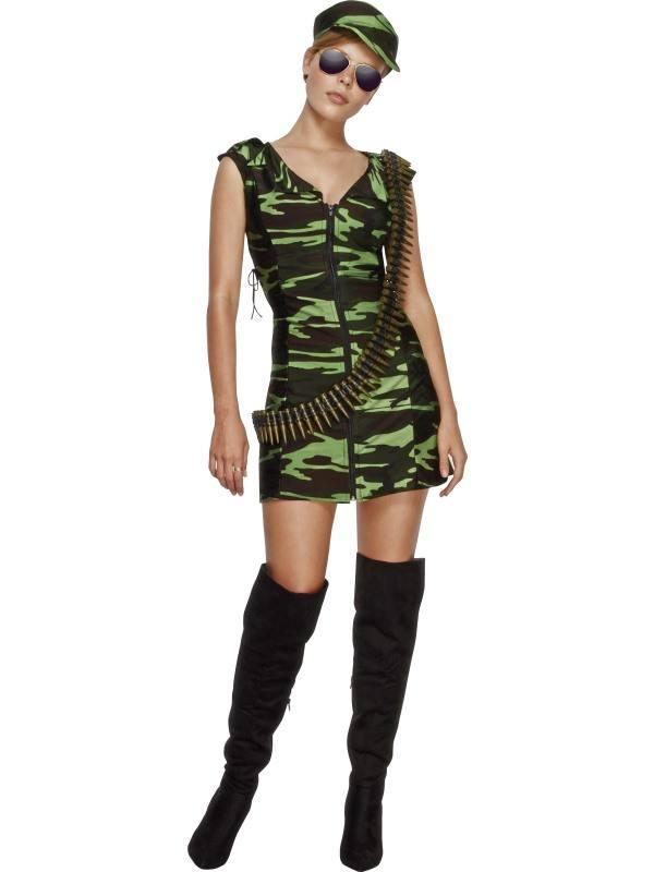 Zöld Terepmintás Katona Női Jemez 2 Kiegészítővel - XS