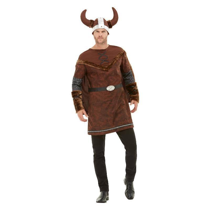 Barna Viking Barbár Jelmez Férfiaknak Tunikával, Köpennyel és Sisakkal - XL