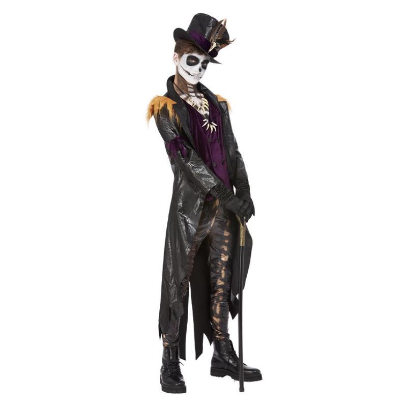 Fekete-Lila Voodoo Boszorkány Orvos Jelmez Férfiaknak Halloweenre - L