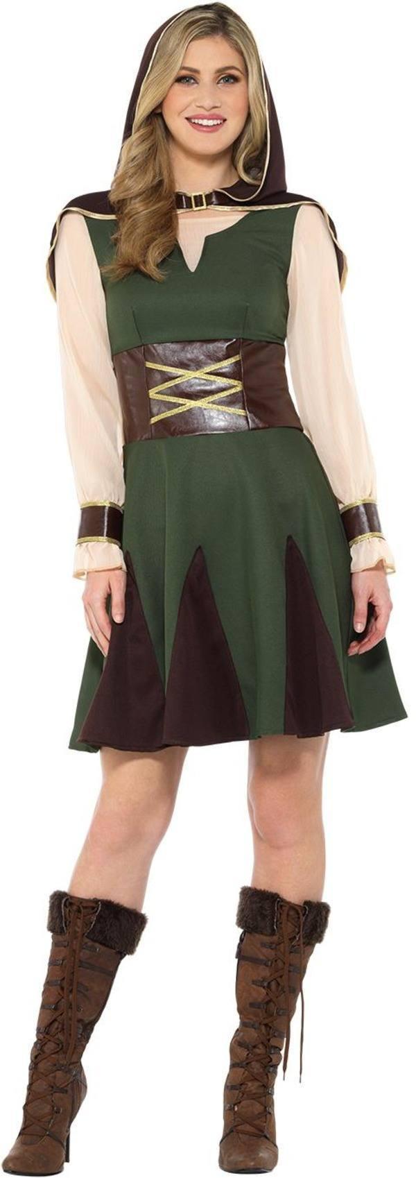 Zöld-Barna Robin Hood Jelmez Nőknek Ruhával és Kis Kapucnis Kabáttal - XL