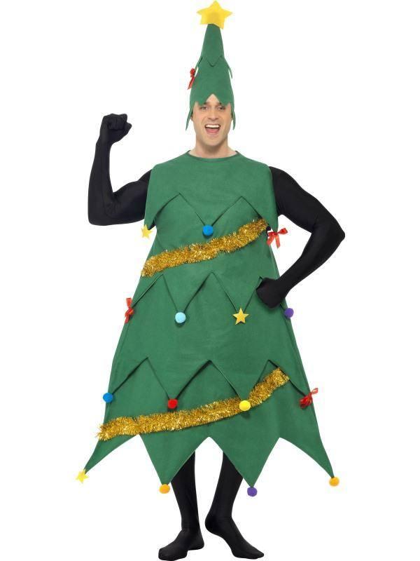 Zöld Karácsonyfa Jelmez Férfiaknak Tunikával és Sapkával