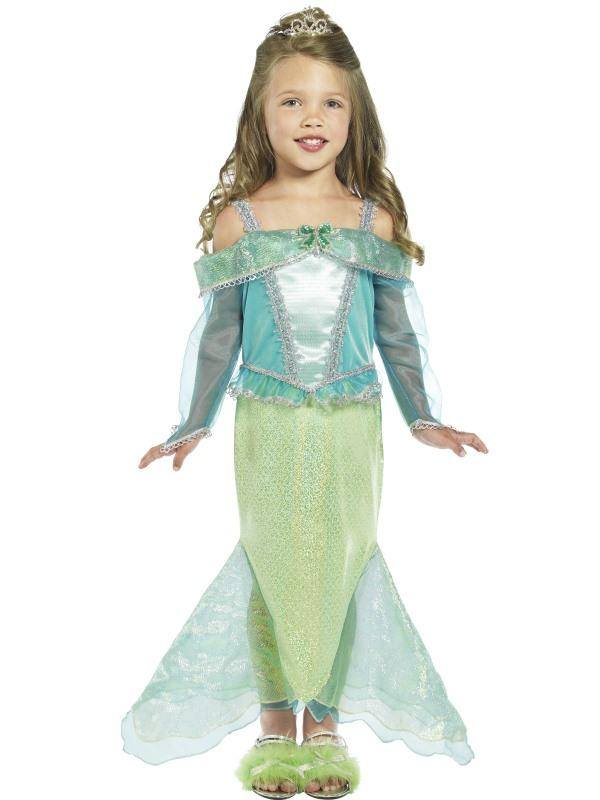 Zöld-Kék Hableány Hercegnő Jelmez Kislányoknak Ruhával - S