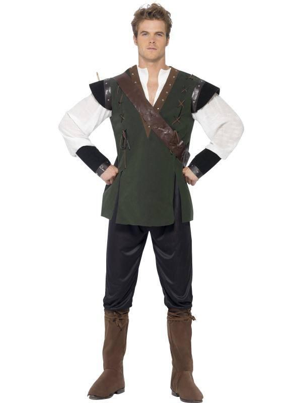 Zöld Robin Hood Jelmez Férfiaknak Nadrággal, Inggel, Övvel és Cipőtakaróval - M