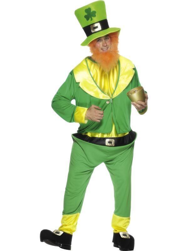 Zöld-Sárga Manó Jelmez Férfiaknak Kezeslábassal, Kabáttal és Kalappal