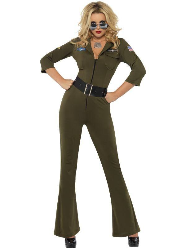 Zöld Top Gun Aviátor Női Jelmez Hosszú Overállal - M