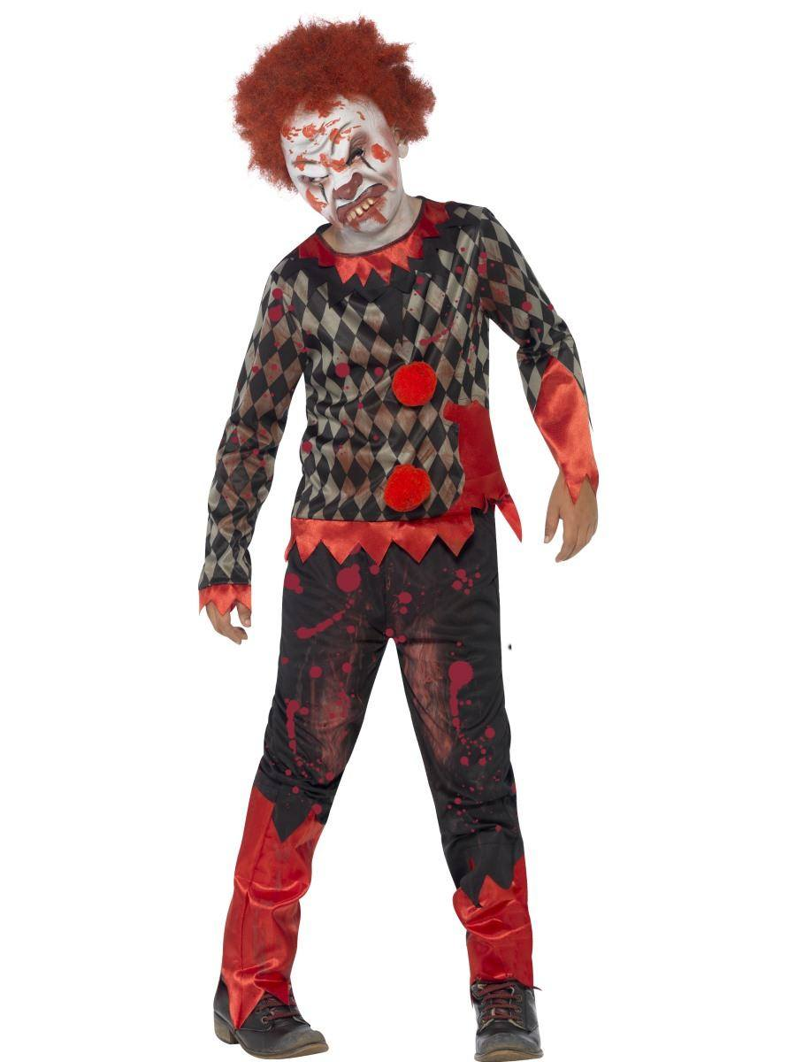 Piros-Zöld Zombi Bohóc Jelmez Kisfiúknak Halloweenre