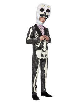 Mexikói Halottak Napja Csontváz Mintás Férfi Jelmez Halloweenre