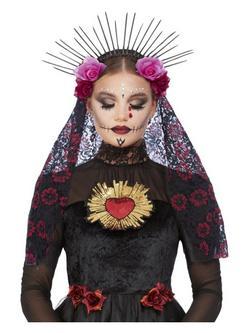 Mexikói Halottak Napja Rózsás Fejdísz Fátyollal