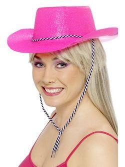 Neon Rózsaszín Glitteres Cowboy Kalap