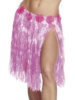 Neon Rózsaszín Virágos Hawaii Fűszoknya Gumis Derékkal