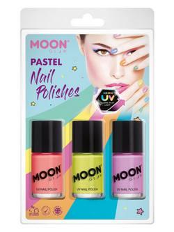 Pasztell Neon UV-s Körömlakk Szett - Korall, Sárga és Lila - 14 ml