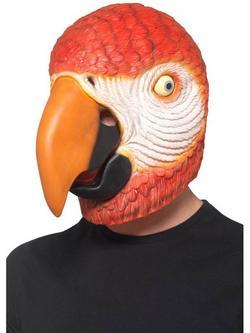 Piros Egész Fejet Befedő Latex Papagáj Maszk