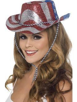 Piros-Ezüst-Kék Glitteres Cowboy Kalap