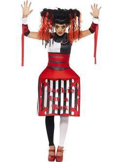 Piros-Fehér-Fekete Gonosz Baba Női Jelmez