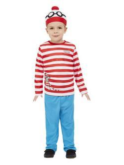 Piros-Fehér Hol van Wally? Totyogó Kisfiú Jelmez