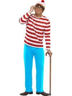 Piros-Fehér-Kék Hol Van Wally? Férfi Jelmez