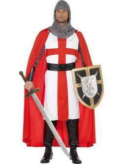 Piros-Fehér Szent György Vitézei Lovagrend Férfi Jelmez
