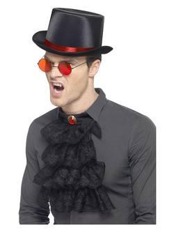 Piros-Fekete Gótikus Szett Kalappal, Szemüveggel és Gallérral