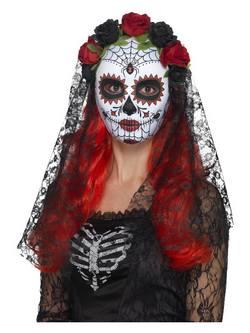 Piros-Fekete Mexikói Halottak Napja Senorita Maszk