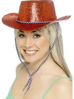 Piros Glitteres Cowboy Kalap