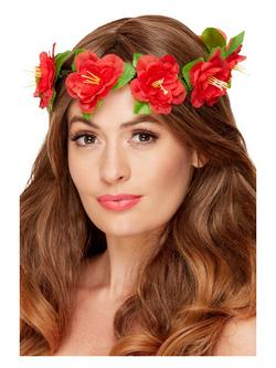 Piros Hawaii Stílusú Virágos Fejdísz