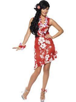 Piros Hawaii Szépség Női Jelmez