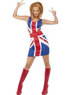 Piros-Kék 1990-es Évekbeli Spice Girls Ginger Spice Jelmez Nőknek - XL