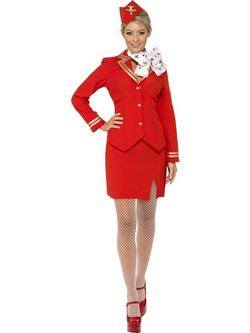 Piros Légiutas-Kísérő Női Jelmez
