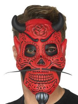 Piros Mexikói Halottak Napja Ördög Maszk Férfiaknak